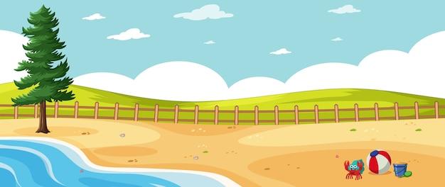 Paesaggio vuoto nella scena della spiaggia della natura con un pino e un cielo vuoto