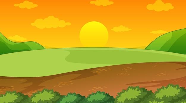 Blank landscape scene of nature park at sunset time