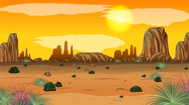 일몰 시간에 사막의 빈 풍경 장면