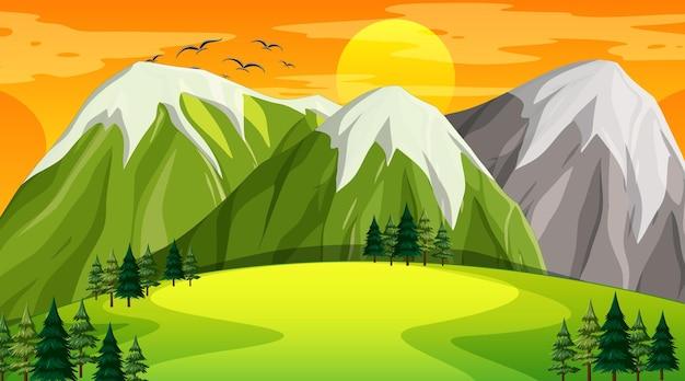 일몰 시간에 자연 공원의 빈 풍경 장면