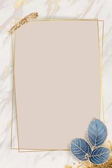 Blank leafy rectangle frame vector