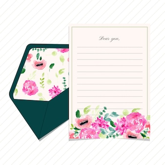 Blank letter and envelope with floral watercolor