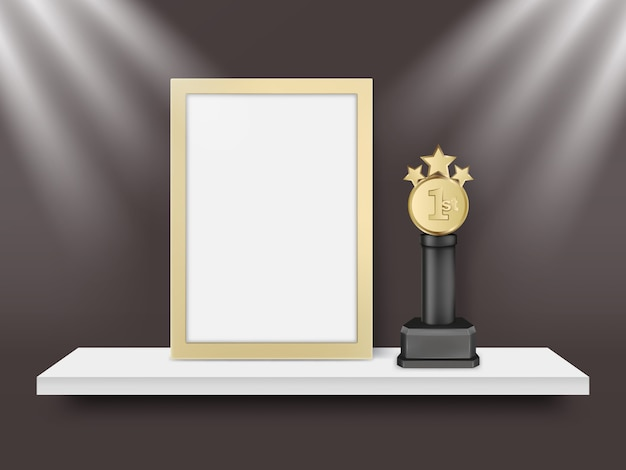 Blank light frame and metal award trophy vector realistic illustration