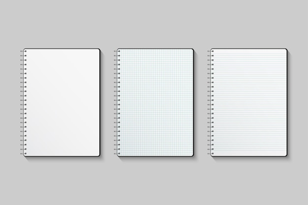 Blank lined and squared paper notebooks isolated on gray background