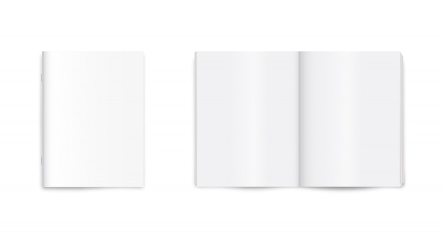 빈 잡지, 저널, 신문, 흰색 배경에 노트북 이랑.
