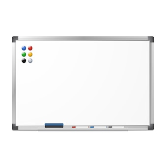 Blank magnetic dry erase whiteboard with the eraser, 3 markers and 6 magnets isolated on white . silver aluminum frame.  clear board.