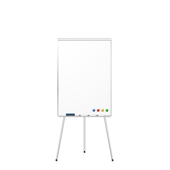 Blank magnetic tripod dry erase whiteboard isolated on white . realistic tripod flipchart with magnets, eraser, and markers.  .