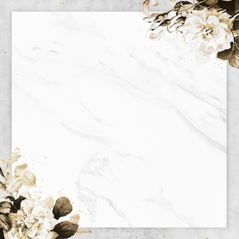 Blank marble textured square frame vector