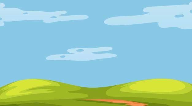 Пустой луговой пейзаж в дневное время