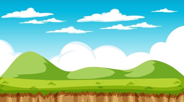 낮에 빈 초원 풍경 장면