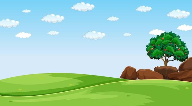 昼間の空白の牧草地の風景シーン