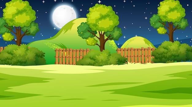 Пустой луг пейзажной сцены в ночное время