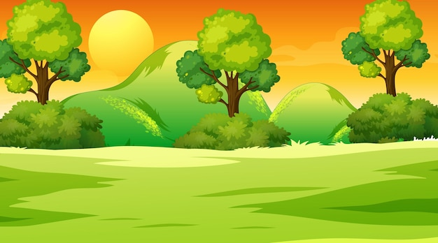 Пустой луг пейзажной сцены во время заката