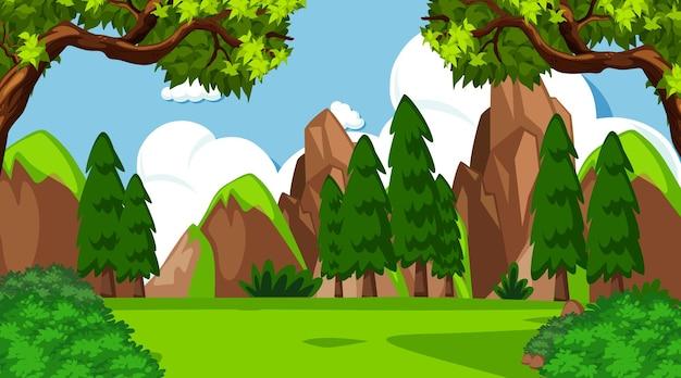Scena del paesaggio del prato vuoto con molti alberi e scogliera