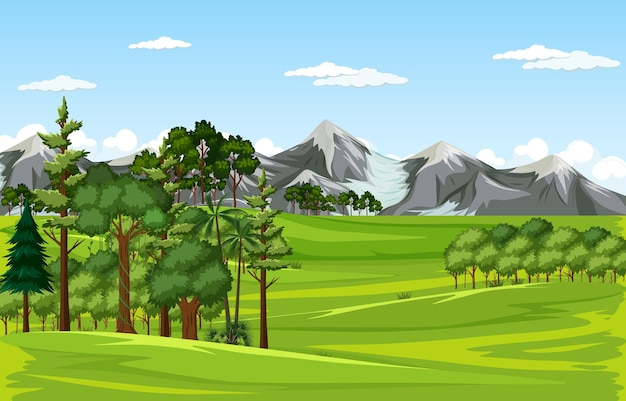 Blank meadow landscape scene with many trees and mountain background