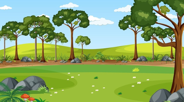 Blank meadow landscape scene with many trees