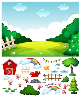 Blank meadow scene with isolated cartoon character and objects