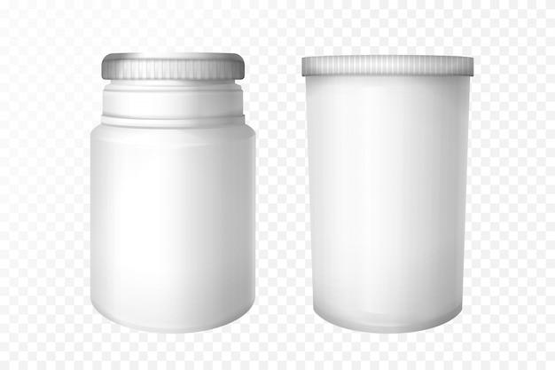 透明な背景に設定された空の医療ボトル。