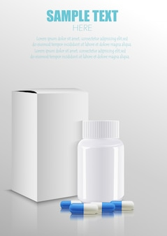Blank medicine medical packaging package paper box with plastic bottle and pills