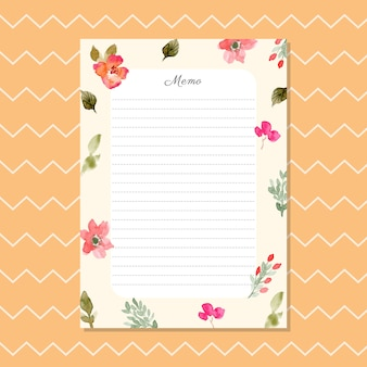 Blank memo with watercolor floral background