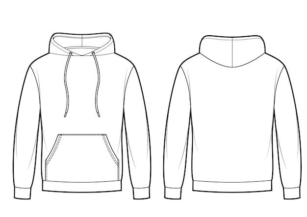 Blank men's hoodie in front, back views. kangaroo pocket on front. vector sketch