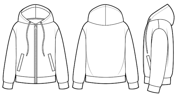 Blank men's and women's hoodies in front, back and side views. zipper clasp on front