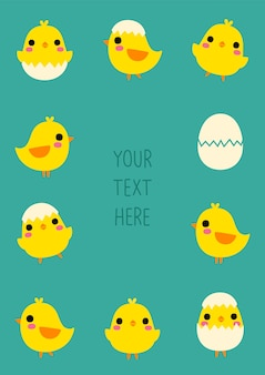 Blank message board with cute chicken and egg in flat style