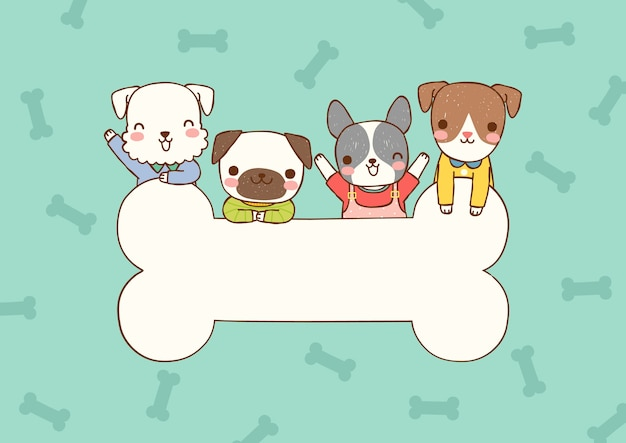 Blank message board with cute dogs in flat style
