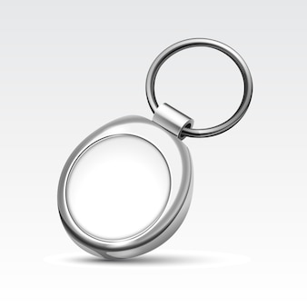 Blank metal round keychain with ring for key isolated on white background