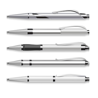 Blank and metallic vector pens template on white background. set of automatic pens, illustration of