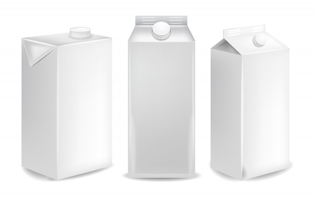 Blank milk packages mockup