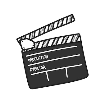 Blank movie clapper board drawing, film production symbol.