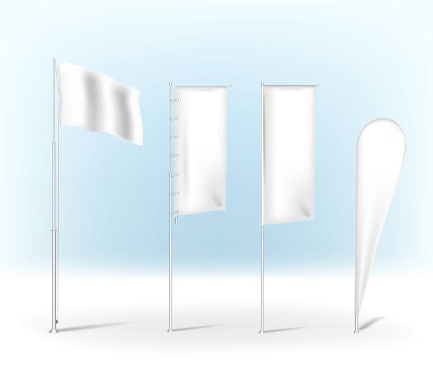 空白の色とりどりの屋外羽フラグ。スタンダー広告。バナーシールド。分離した白い背景の上の製品。ティアドロップの弓の旗、広告ビーチフラグ