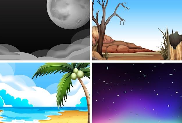 Ambienti naturali vuoti con alberi, stelle, luna, notte e giorno