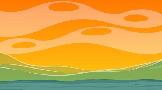 氾濫した風景と日没時のシーンで空白の自然