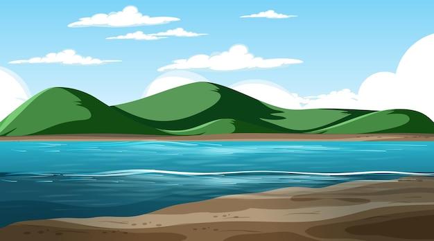 山の背景と昼間のシーンで空白の自然の風景
