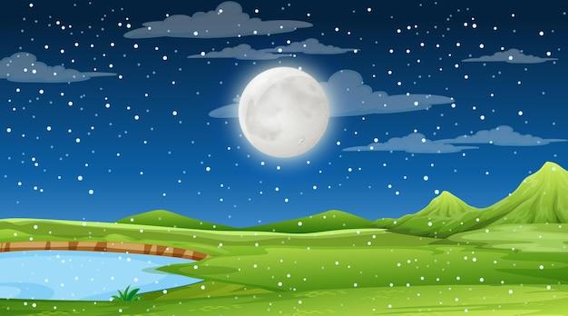 夜景の空白の自然風景