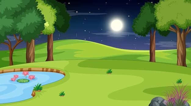 夜のシーンで空白の自然の風景
