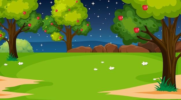 Пустой пейзаж природного парка в ночной сцене