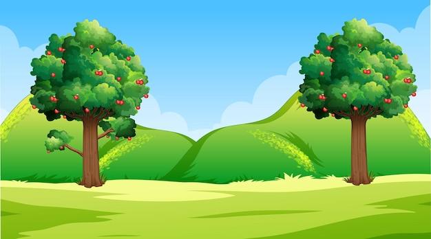 昼間の空白の自然公園の風景シーン