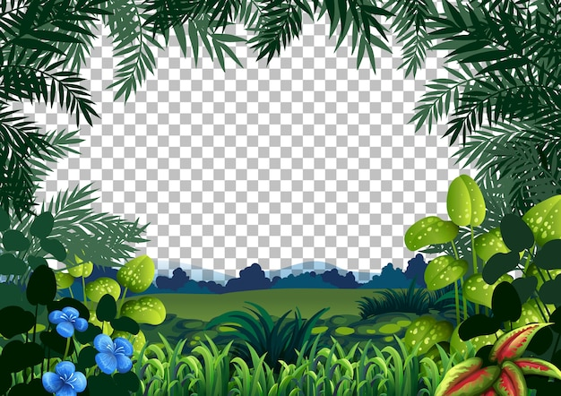 Blank nature scene landscape on transparent background