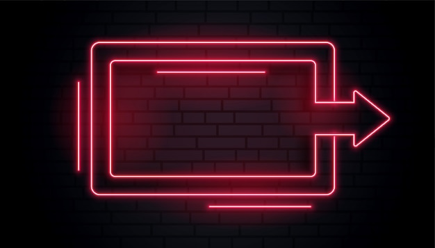 Blank neon arrow light frame
