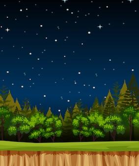 숲에서 소나무와 빈 밤 하늘 배경 장면