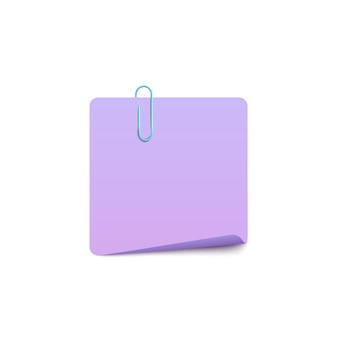 Blank note page with paper clip realistic illustration