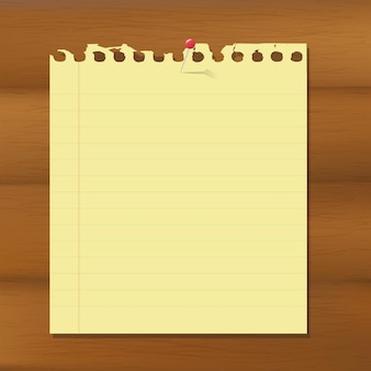 Blank note paper on wooden brown background,