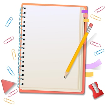 Blank notepad with stationery, paper clips, pencil, eraser, sharpener