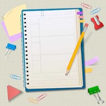 文房具の側面図と空白のメモ帳