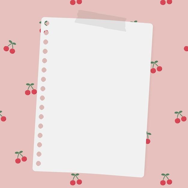 Пустая бумага для заметок на социальном шаблоне красной вишни