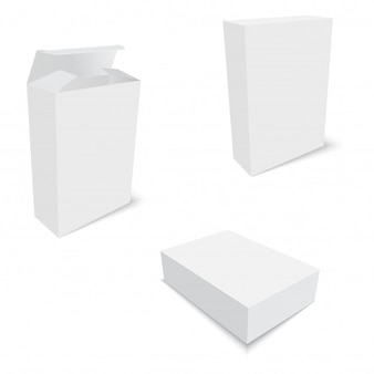 Blank of opened and closed cardboard boxes for packing