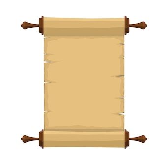 Blank old ancient scroll of paper sheet cartoon